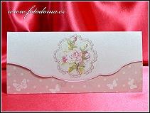 Rozkládací růžové svatební oznámení vyrobené z matného bílého polokartonu vzor 3361