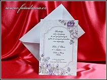 Bílo fialové svatební oznámení vzor 3363