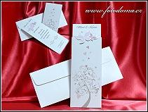Vysouvací svatební oznámení se stylizovanými růžovými motýlky na zasouvacím dílu vzor 3373