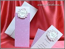 Vysouvací růžové svatební oznámení s květinovým věnečkem a srdíčky vzor 3376