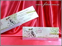Vysouvací cyklistické svatební oznámení s jezdícími postavičkami vzor 3377