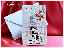 Malé otevírací cyklistické svatební oznámení s historickým bicyklem vzor 3385