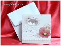 Otevírací čtvercové svatební oznámení s vlčími máky vzor 3390
