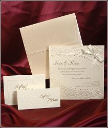 Svatební oznámení vzor 3584 čtverec s mašličkou
