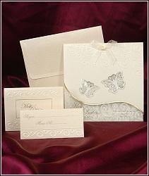 Svatební oznámení vzor 3602 s průhlednými motýlky