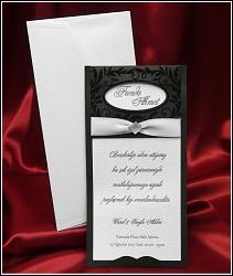 Luxusní černé svatební oznámení 3623 s krémovou stuhou