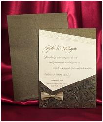 Luxusní svatební oznámení 3627 s bronzově hnědou kapsou.