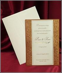 Luxusní svatební oznámení 3632 ve formě karty s rostlinnými motivy na okrajích