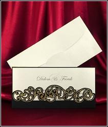 Dvoudílné svatební oznámení 3648 se zlatými ornamenty.