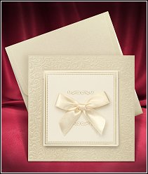 Otevírací čtvercové svatební oznámení s mašlí vzor 3677