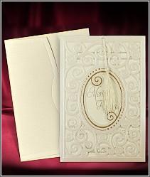 Dvoudílné luxusní svatební oznámení s kudrlinkami a se střapečkem 3694.