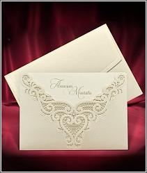 Dvoudílné svatební oznámení s luxusně krajkově zdobenou kapsou 3698.