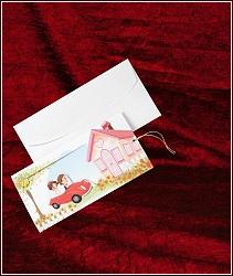 Kreslené svatební oznámení vzor 5323 s autíčkem