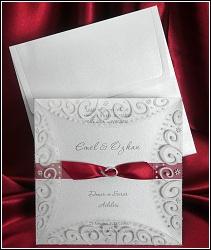 Svatební oznámení vzor 5372 s červenou stužkou