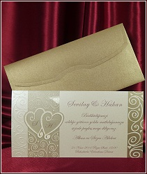 Svatební oznámení vzor 5374 se srdíčky a s ornamenty
