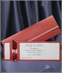 Červeně perleťové svatební oznámení vzor 5390