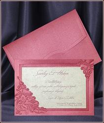 Svatební oznámení vzor 5394 s tmavorůžovým rámem