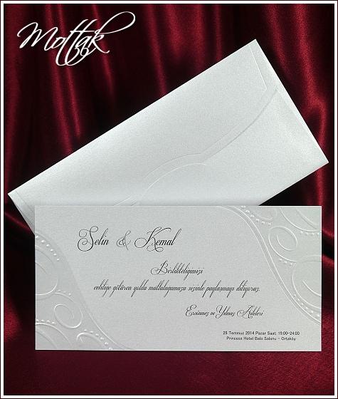 Svatební oznámení 5395 se slepotiskovými ornamenty