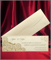 Podlouhlé dvoudílné svatební oznámení 5415 se zlatými ornamenty