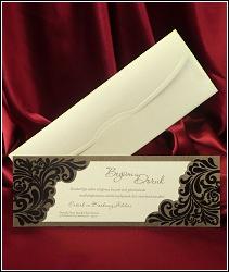 Dvoudílné svatební oznámení 5416 podlouhlého tvaru se semišovými vzory