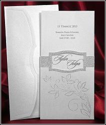 Vysouvací stříbřité svatební oznámení 5420 s třpytivou výzdobou