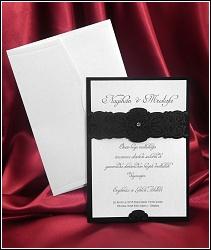 Dvoudílné stříbřitě černé svatební oznámení 5423