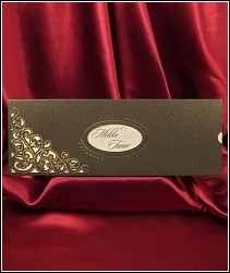 Vysouvací svatební oznámení 5425 se zlatými ornamenty