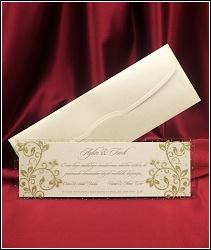 Dvoudílné svatební oznámení 5431 s třpytivě zlaceným průhledným dílem