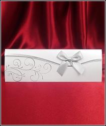 Stříbřité svatební oznámení 5435 s mašlí