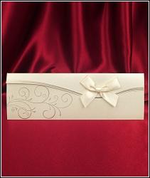 Zlatavé svatební oznámení 5436 s mašlí