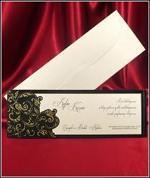 Dvoudílné svatební oznámení 5439 s černou zlatě zdobenou podkladovou kartou