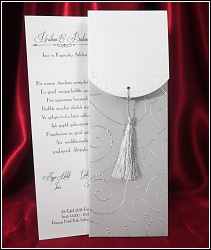 Dvoudílné stříbřité svatební oznámení 5442 se střapečkem.