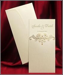 Dvoudílné svatební oznámení 5443 se srdcem z ornamentů