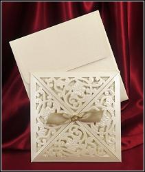 Dvoudílné svatební oznámení 5448 tvaru čtverce.