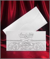 Stříbřitě perleťové svatební oznámení 5452 s mašličkou