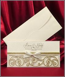 Dvoudílné luxusní svatební oznámení 5453 s mašličkou