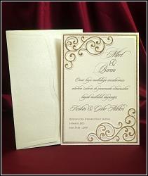Obdélníkové svatební oznámení 5457 ve formě dvoudílné karty