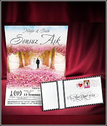 Svatební oznámení s alejí růžově kvetoucích stromů 5460.