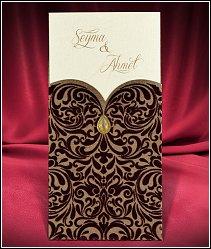 Svatební oznámení tmavě hnědé barvy se semišovým povrchem vzor 5472