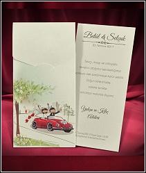 Dvoudílné svatební oznámení s červeným autem 5474.