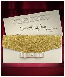 Dvoudílné zlatě třpytivé svatební oznámení 5480.