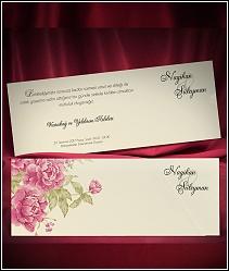 Vysouvací svatební oznámení s motivem červených květů 5491.