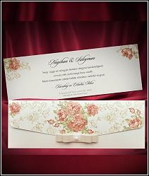 Dvoudílné svatební oznámení s růžemi a se stužkou 5493.