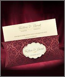 Dvoudílné svatební oznámení s vínově rudou semiší zdobeným pouzdrem vzor 5504