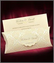 Svatební oznámení s kapsou se semišovými ornamenty vzor 5505