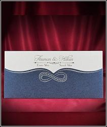 Svatební oznámení s modrou kapsou z metalického polokartonu se symbolem nekonečnosti 5517.