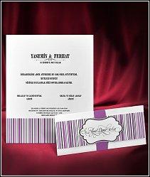 Svatební oznámení s fialovými proužky vzor 5522