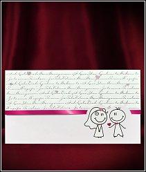 Jednodílné rozkládací svatební oznámení s postavičkami vzor 5526