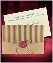 Svatební oznámení s pečetí a s obálkou z recyklovaného papíru 5527.