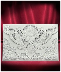 Svatební oznámení v kombinaci stříbrné a perleti s velkým květem růže 5531.